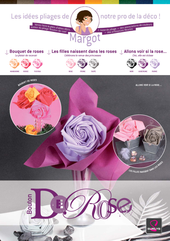 Pliage serviettes soiree mariage communion bapteme dark for Pliage serviette bouton de rose